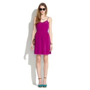 MADEWELL magenta pink 100% silk cami mini dress